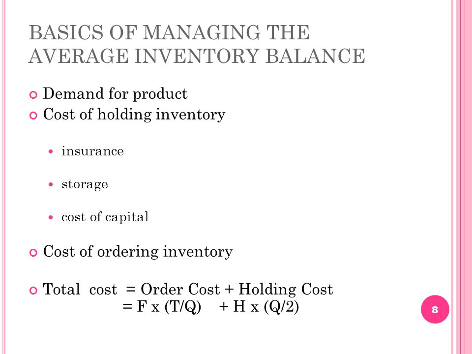 BASICS OF MANAGING THE AVERAGE INVENTORY BALANCE