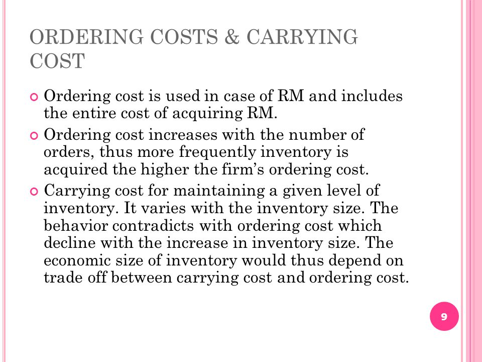 ORDERING COSTS & CARRYING COST
