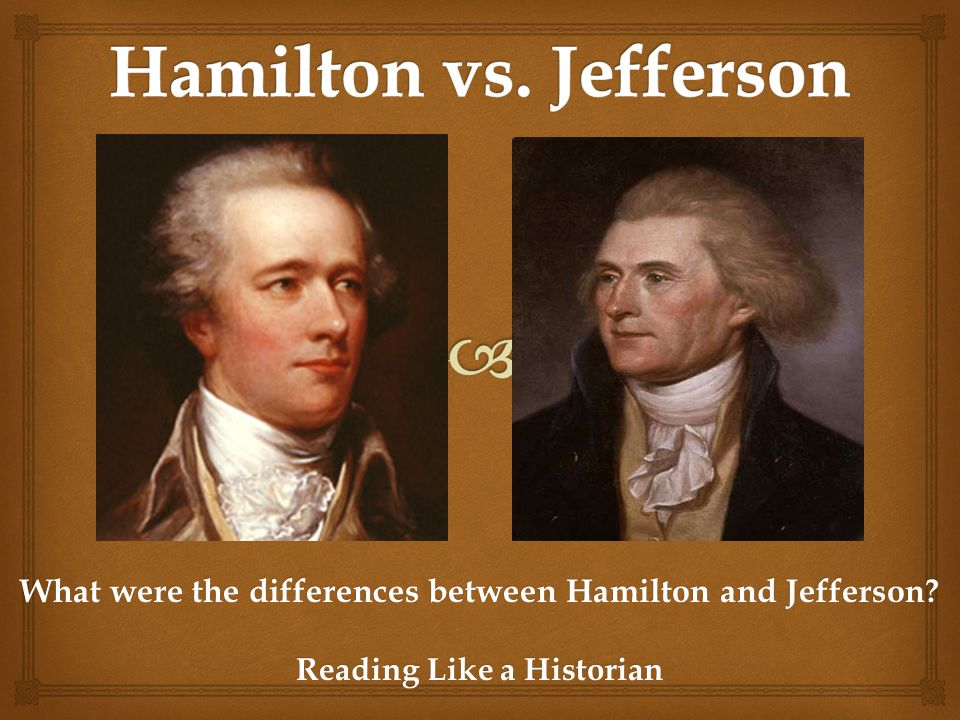 hamilton vs jefferson political philosophies of