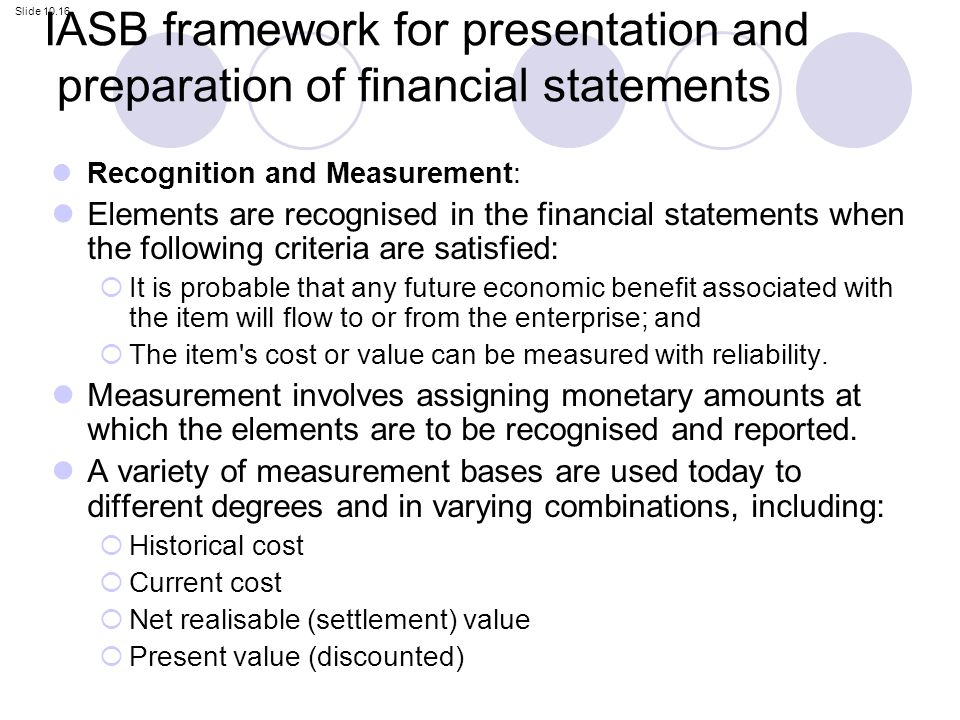 Framework for the preparation and presentation of financial statements essay