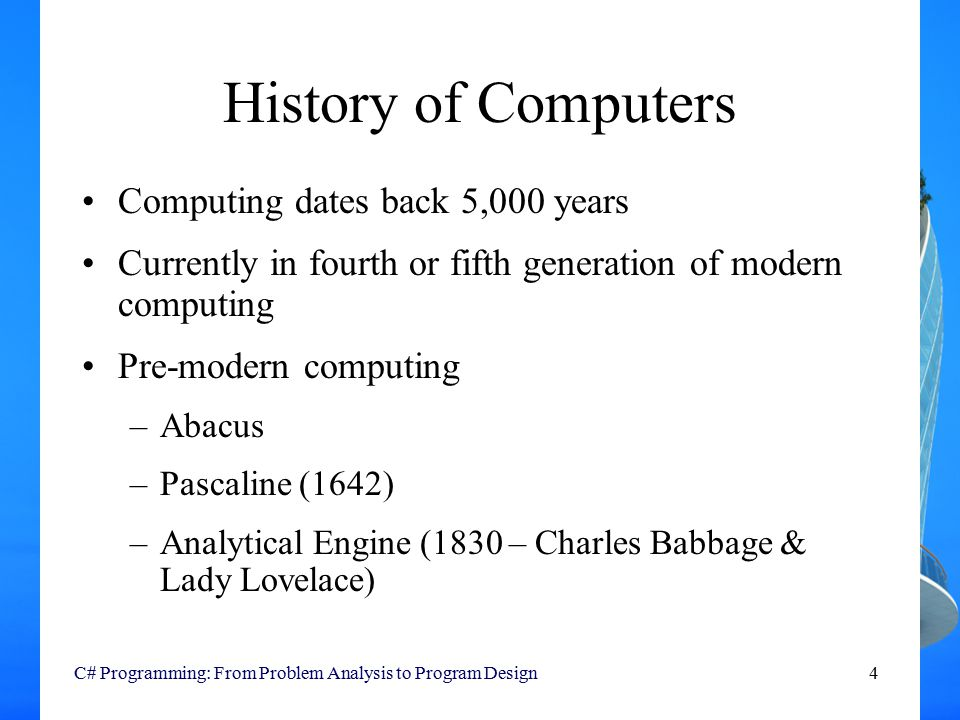 an introduction to the analysis and history of pc computers Introduction to computers  ascii format is used to transfer documents between computers, such as pc and  moore's law is an important part of computer history.