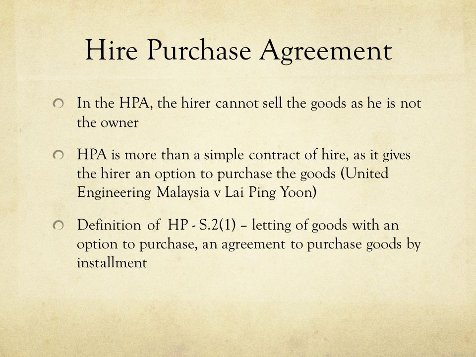 Commercial Law Hire Purchase Law. - Ppt Video Online Download
