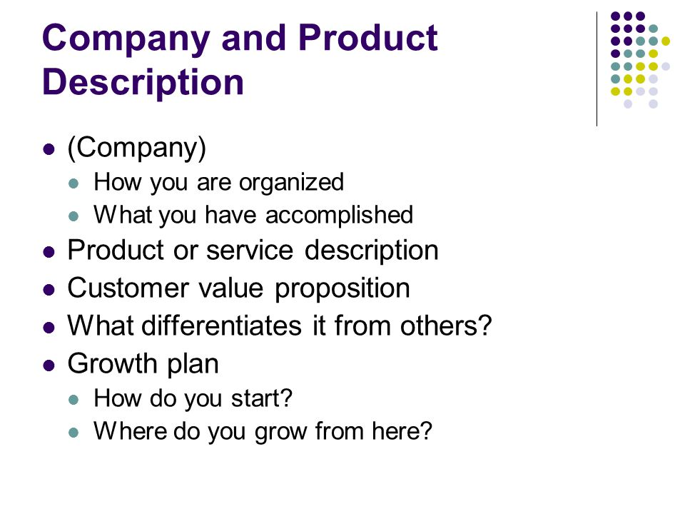 how to sell your company in a description