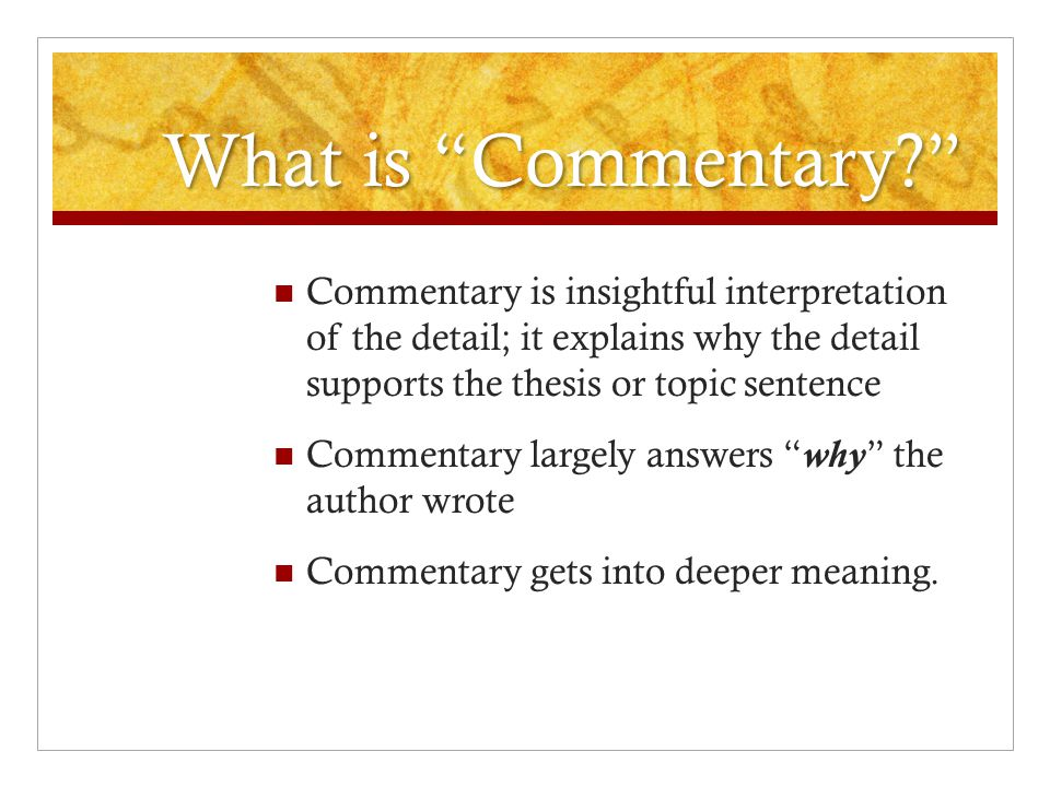 what is commentary