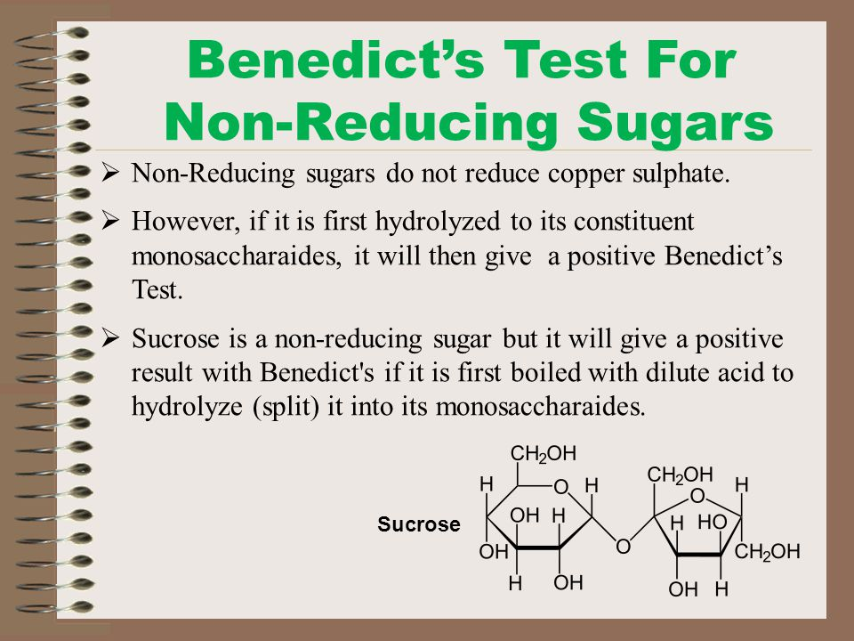 benedict s test for reducing sugars (biochemistry) a chemical solution used to detect the presence of glucose and other reducing sugars medically, it is used to test the urine of diabetics.