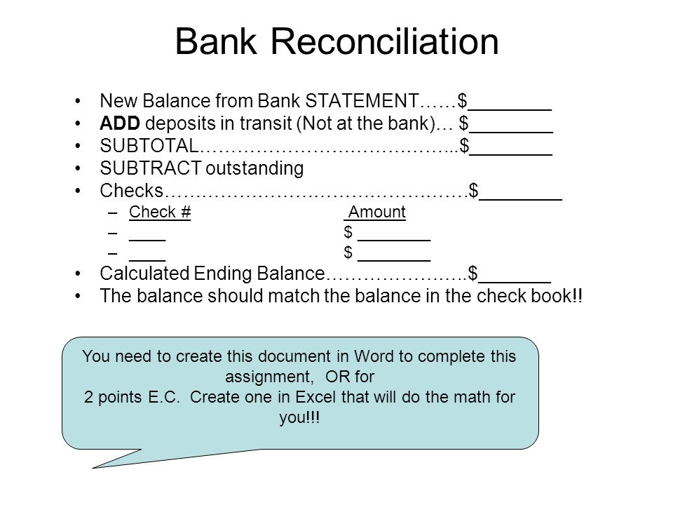 Bank reconciliation worksheet pdf