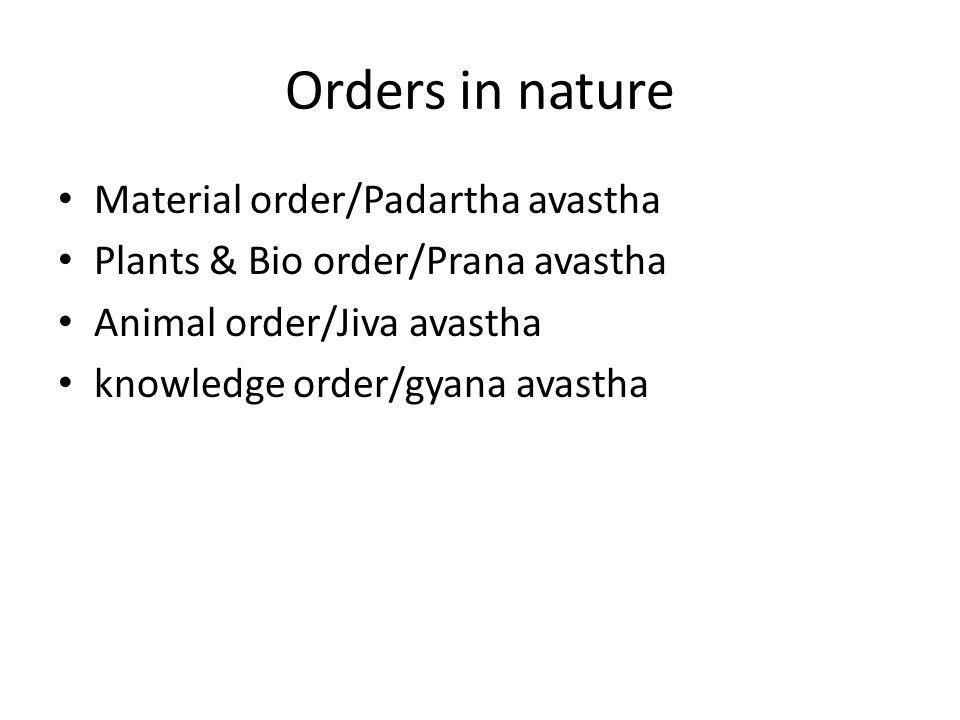 Orders in nature Material order/Padartha avastha