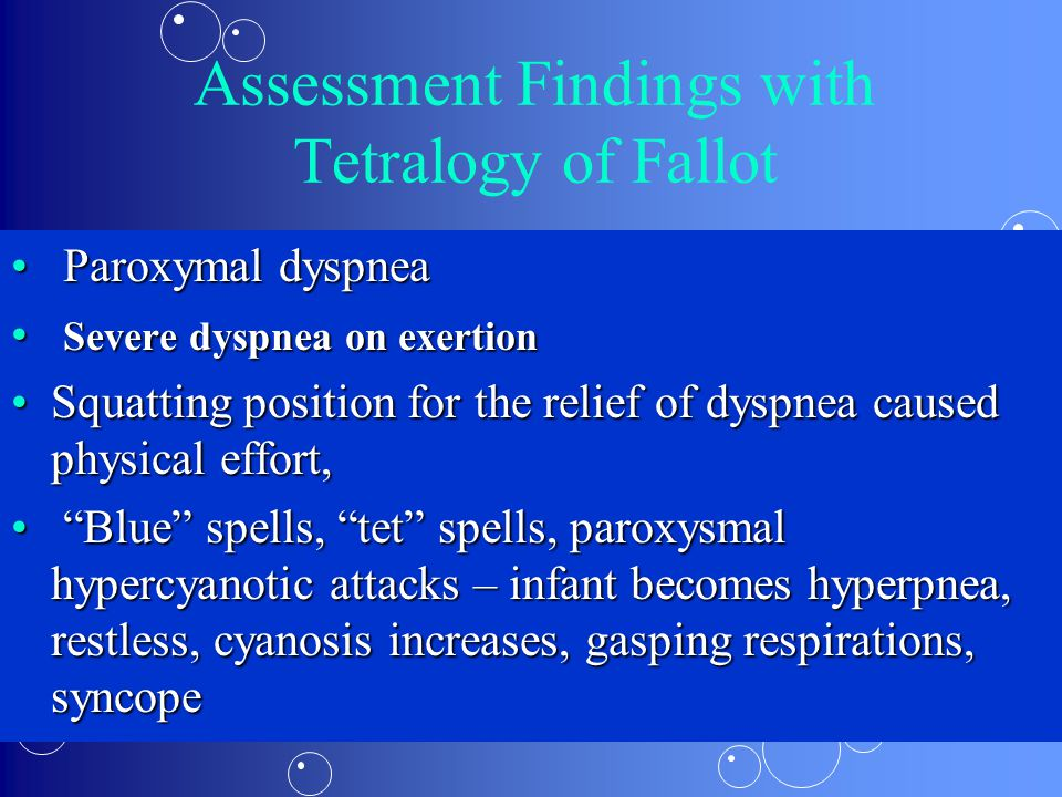 Assessment Findings with Tetralogy of Fallot