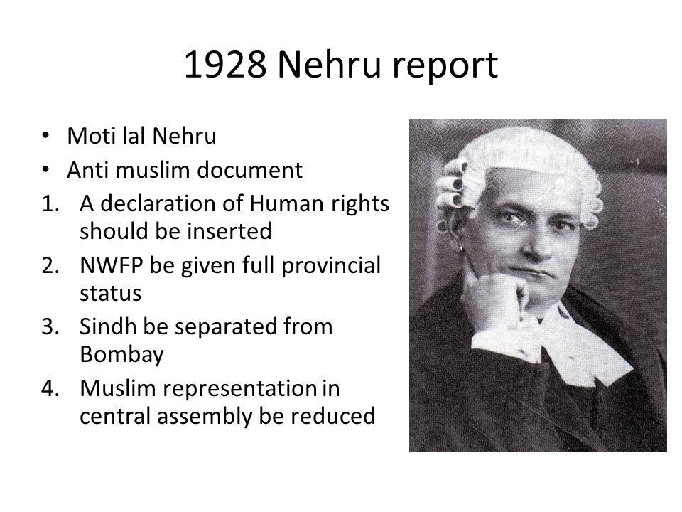 1928 Nehru report Moti lal Nehru Anti muslim document