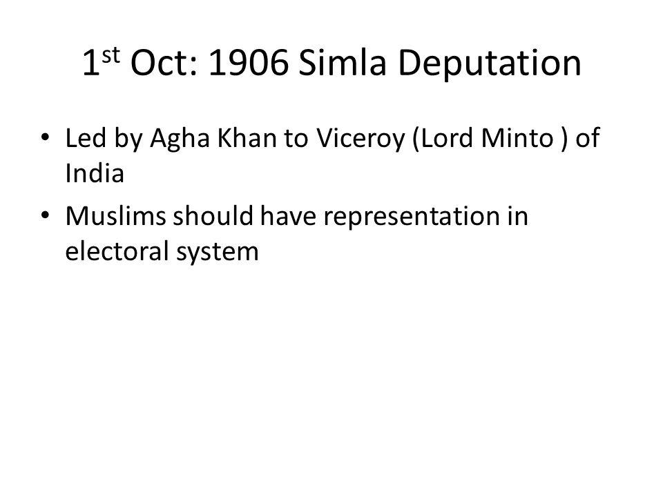 1st Oct: 1906 Simla Deputation