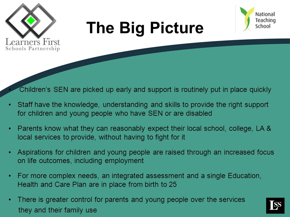 The Big Picture Children's SEN are picked up early and support is routinely put in place quickly.