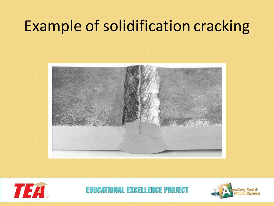 Example of solidification cracking