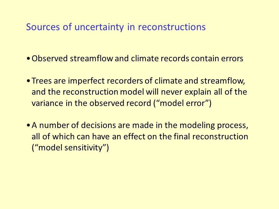 Sources of uncertainty in reconstructions