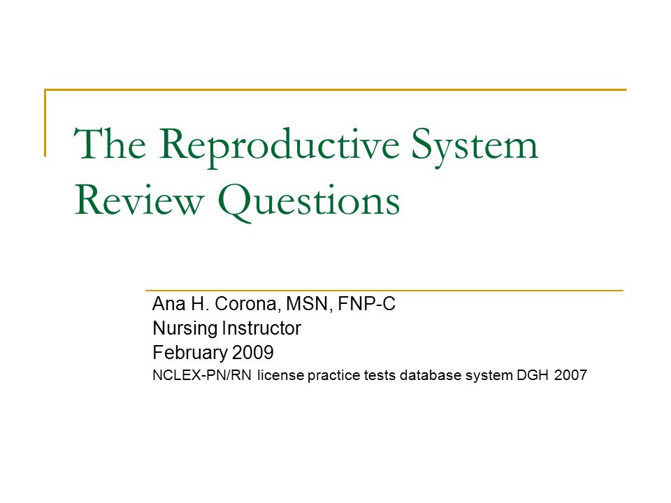 The Reproductive System Review Questions - ppt video online download