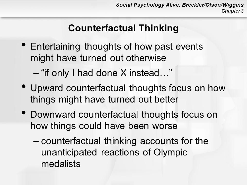 counterfactual thinking Three experiments compared the impact of counterfactual thinking (imagining  alternatives to reality) on the hindsight bias (the pervasive.
