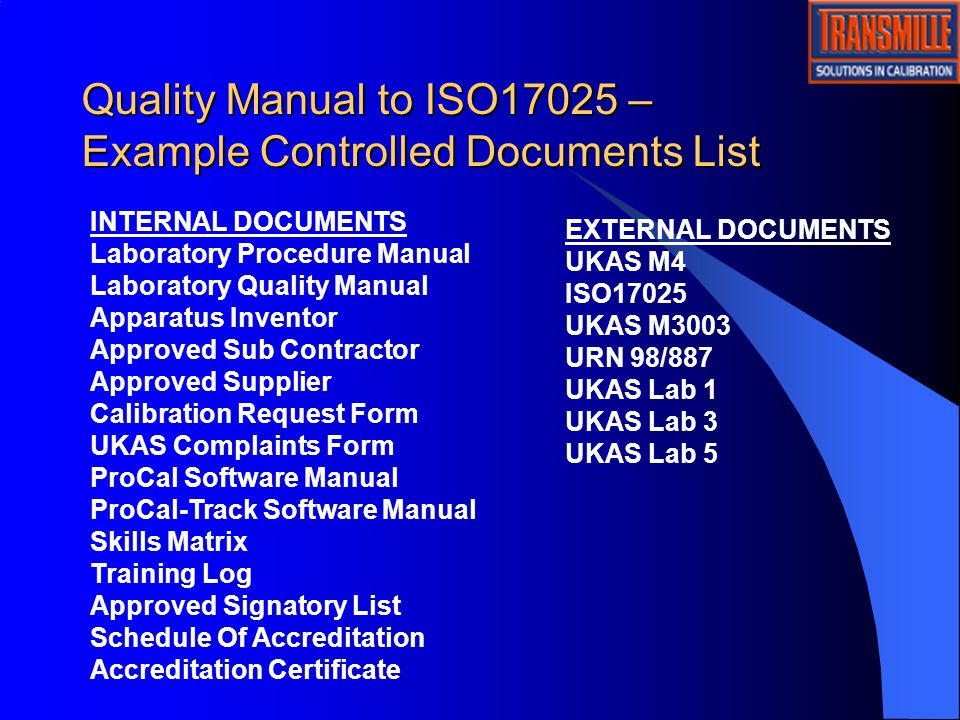 Transmille training quality system ppt video online download 8 quality manual to iso17025 example pronofoot35fo Images