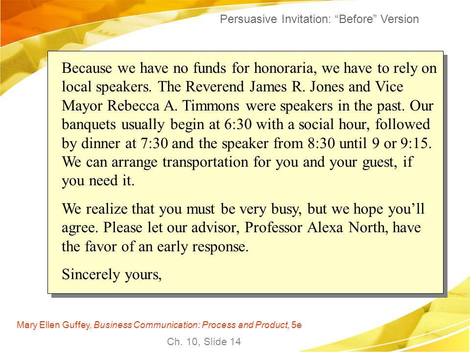 Persuasive Invitation: Before Version
