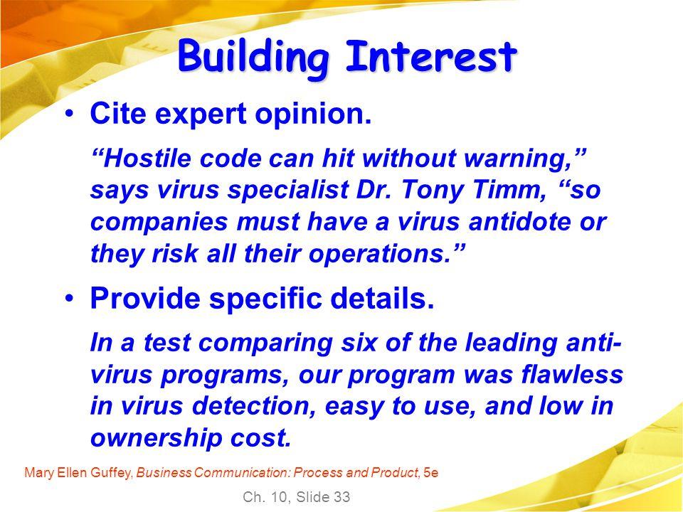 Building Interest Cite expert opinion. Provide specific details.