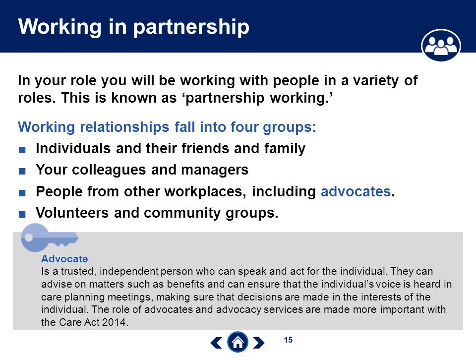 understand working relationships in social care Task 1 explain various philosophies and concepts of working in partnership in health and social care health and social care professionals have an essential role among the partnership workers as each level and different professional group depends on some kind of activity that is related with performance of a group.