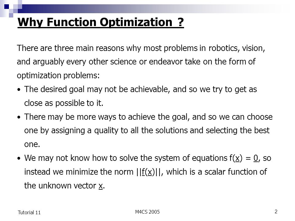 Why Function Optimization