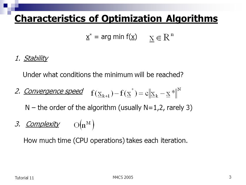 Characteristics of Optimization Algorithms
