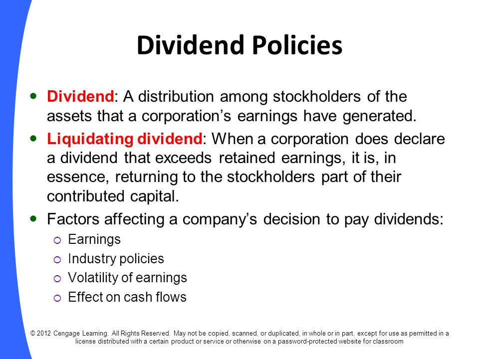 Liquidating dividends distributions