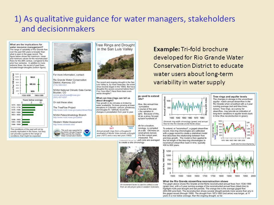 1) As qualitative guidance for water managers, stakeholders and decisionmakers