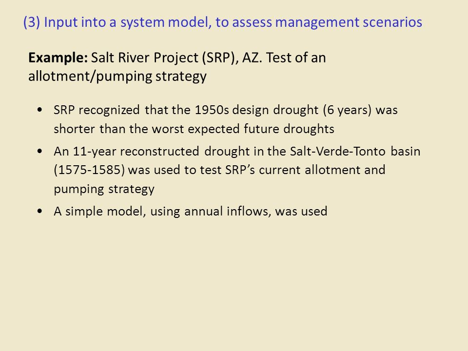 (3) Input into a system model, to assess management scenarios