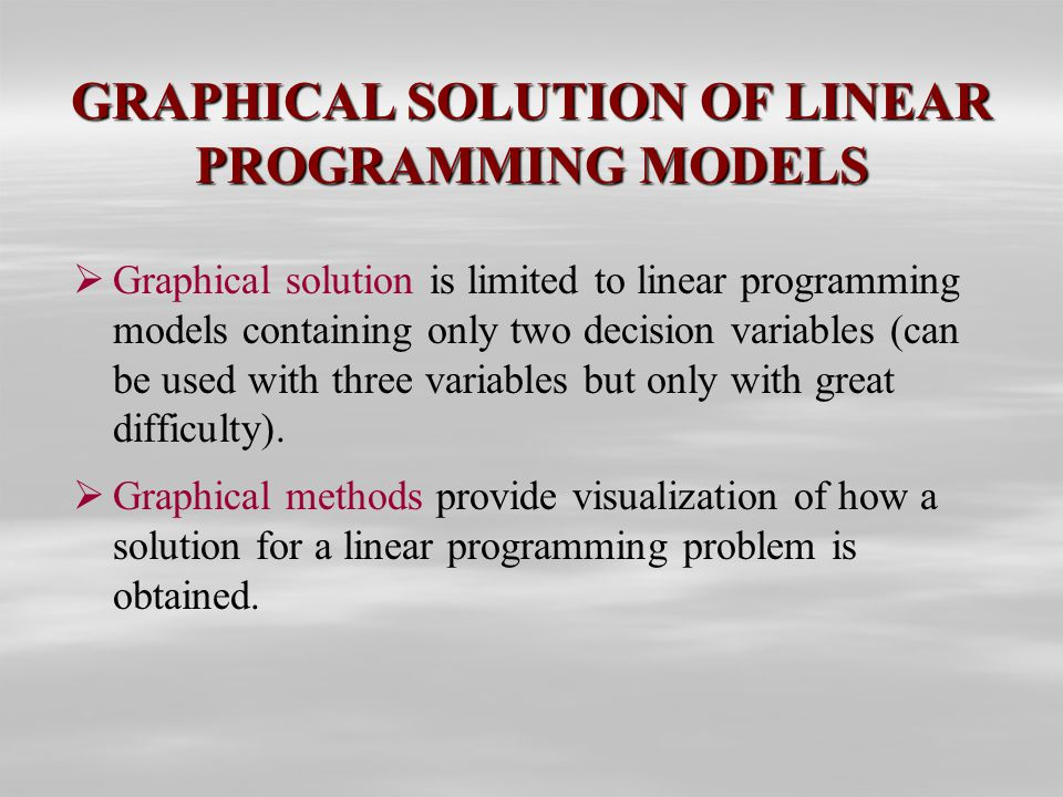 linear programming models graphical and computer Self study quiz use the key given at the end of this file to correct your answers restudy pages that correspond to any questions that you answered incorrectly or material you feel uncertain about.