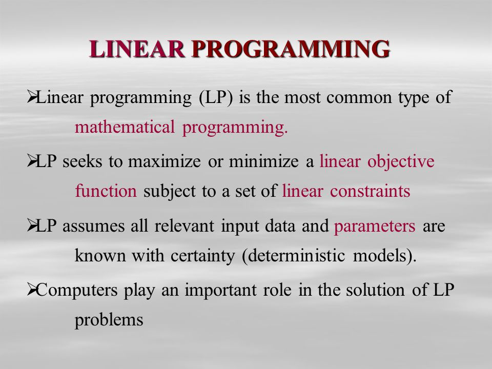 linear programming thesis Thipwiwatpotjana, phantipa (phd, applied mathematics) linear programming problems for generalized uncertainty thesis directed by professor weldon lodwick.