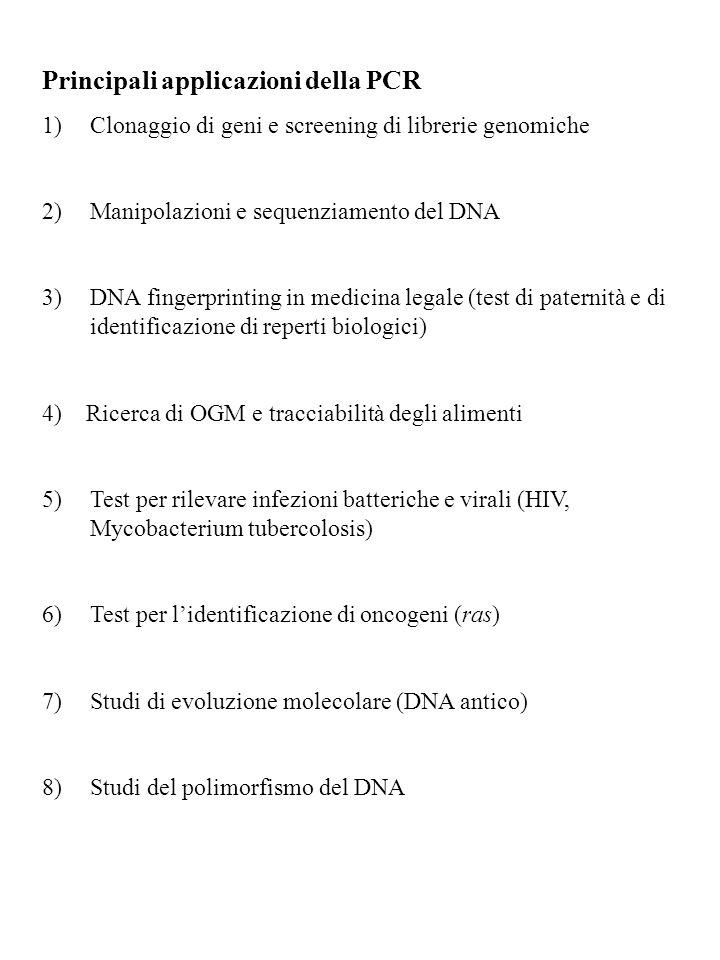 Principali applicazioni della PCR