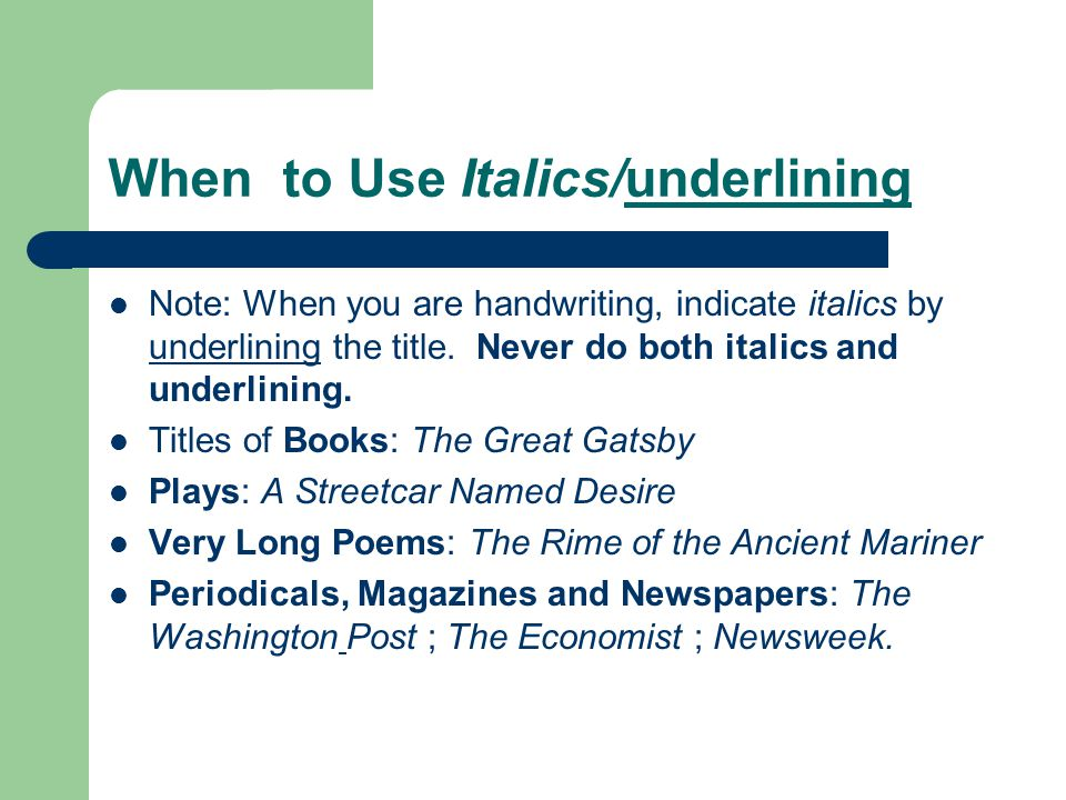 should movies be underlined in essays Song titles should be put in quotation marks rather than italicized song titles are part of a larger work, such as a music album or film, and italics or underlining should only be used for longer works that can stand on their own quotation marks, italics and underlining serve to set a title apart.