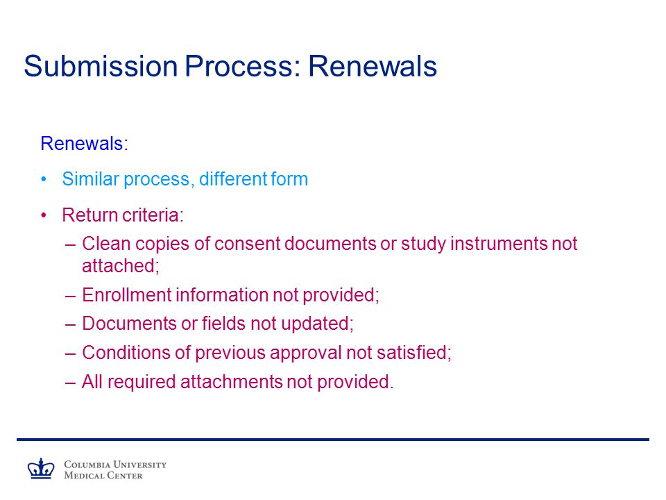 Submission Process: Renewals