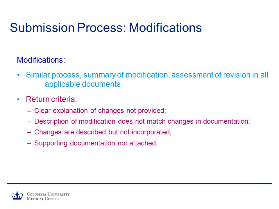 Submission Process: Modifications
