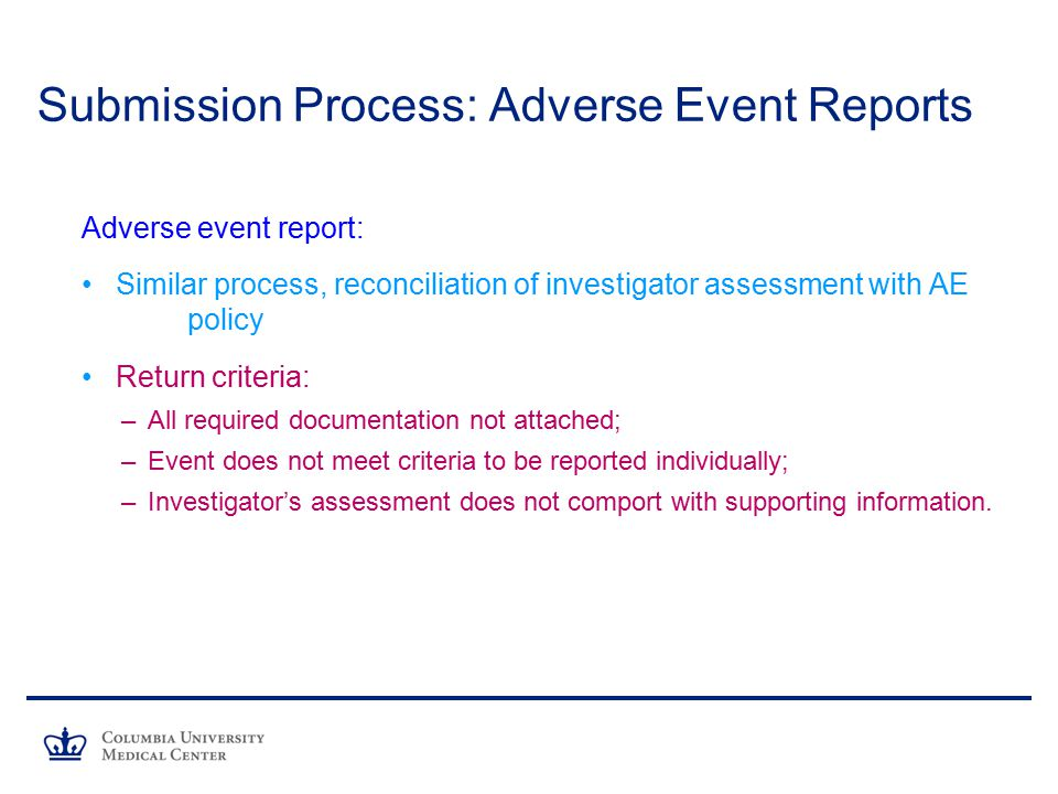 Submission Process: Adverse Event Reports
