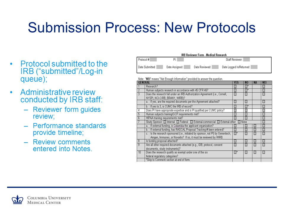 Submission Process: New Protocols