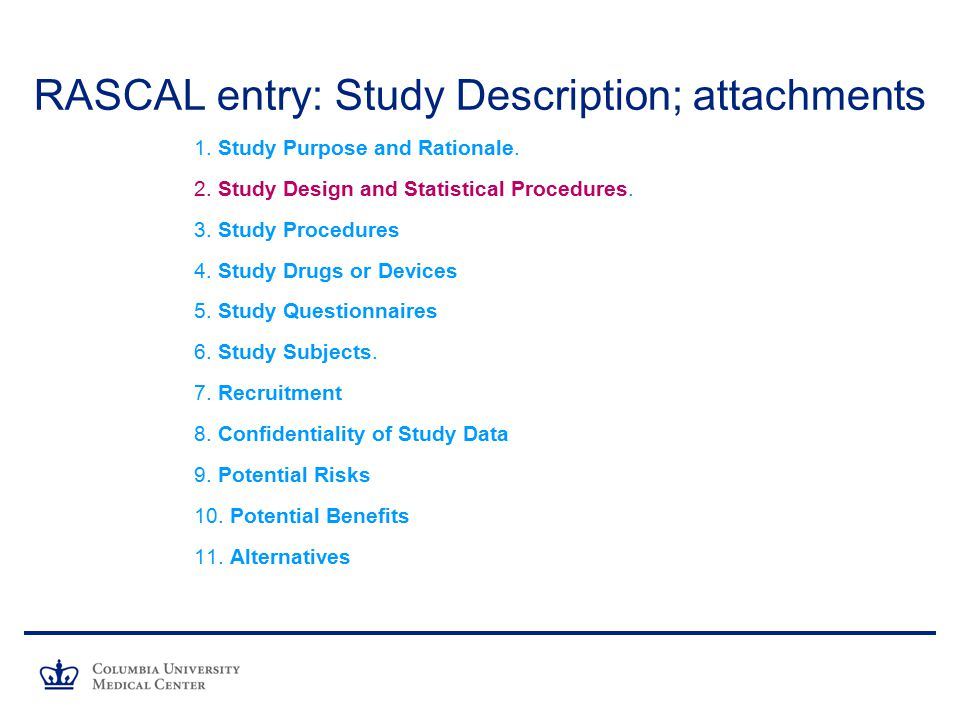 RASCAL entry: Study Description; attachments