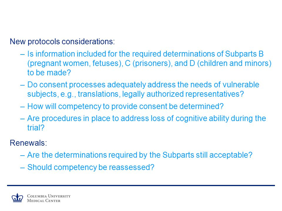 New protocols considerations: