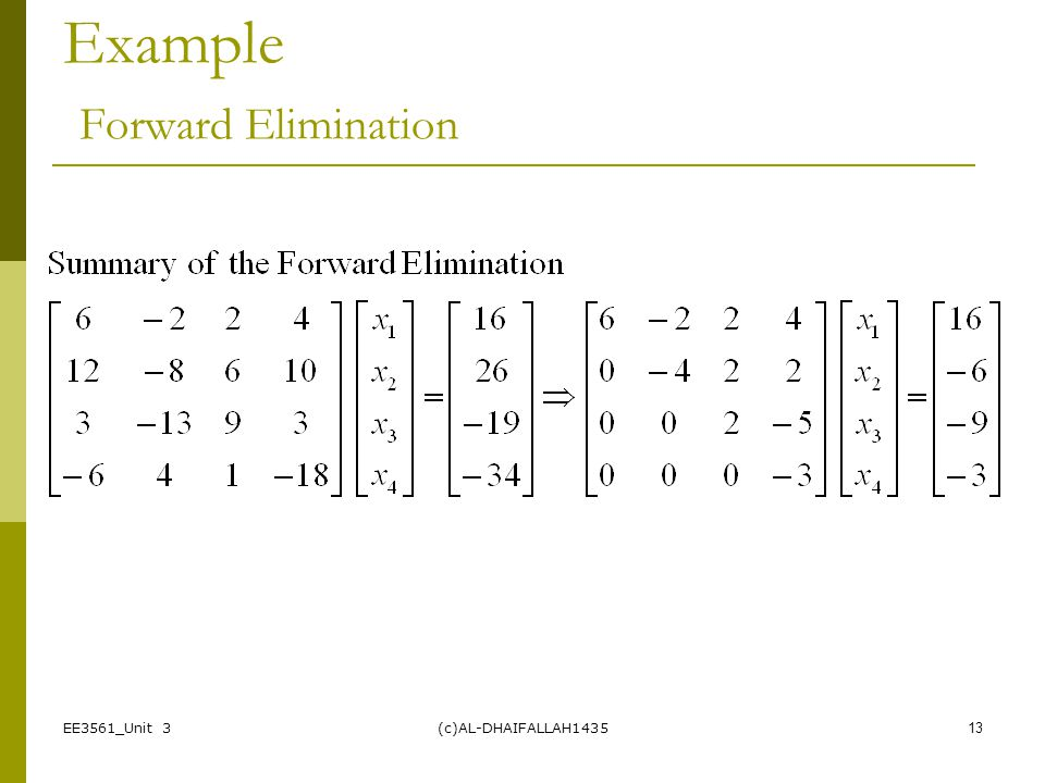Example Forward Elimination