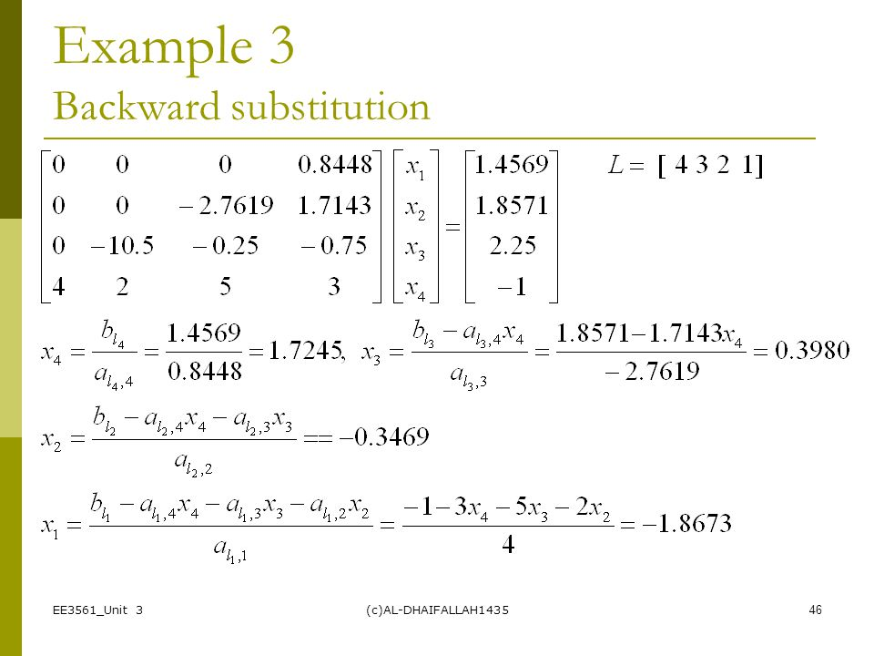 Example 3 Backward substitution