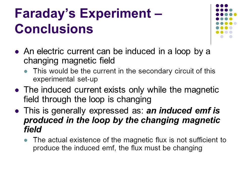 Faraday's Experiment – Conclusions