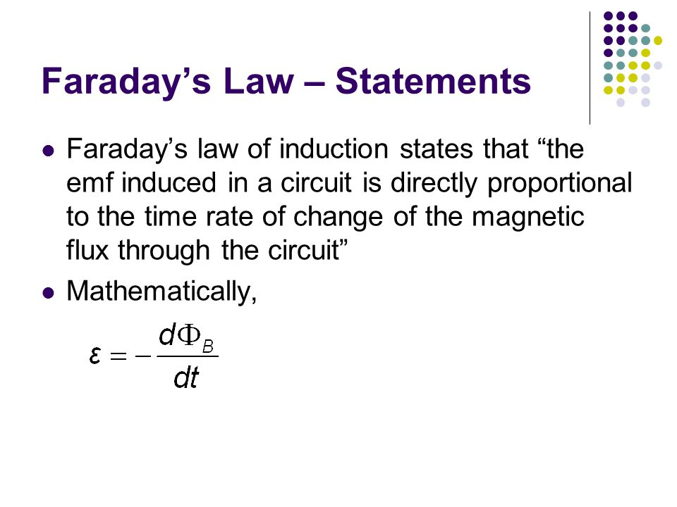 Faraday's Law – Statements