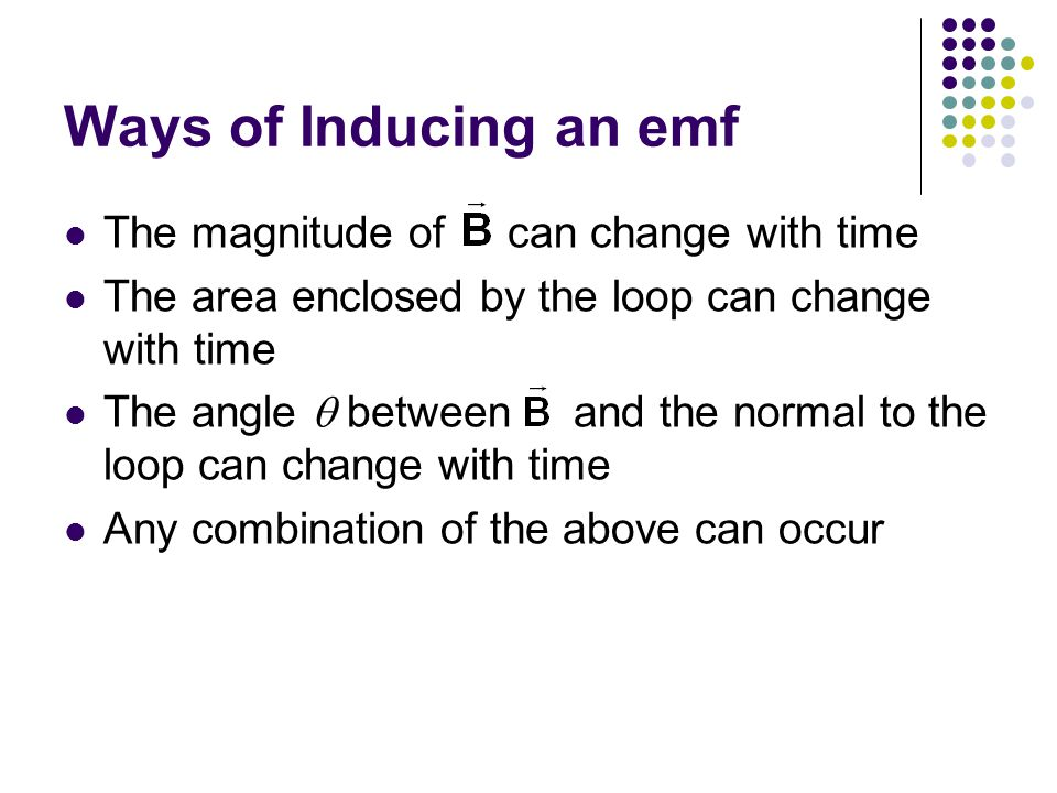 Ways of Inducing an emf The magnitude of can change with time