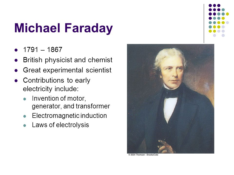 Michael Faraday 1791 – 1867 British physicist and chemist