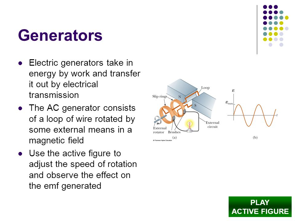 Generators Electric generators take in energy by work and transfer it out by electrical transmission.