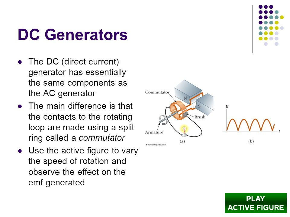 DC Generators The DC (direct current) generator has essentially the same components as the AC generator.
