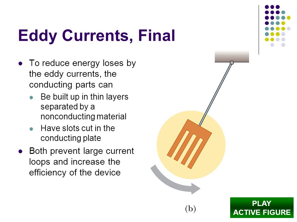 Eddy Currents, Final To reduce energy loses by the eddy currents, the conducting parts can.