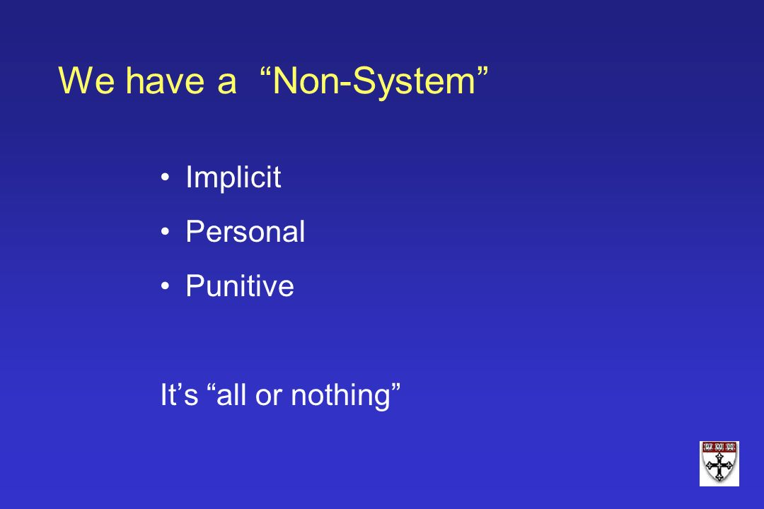 We have a Non-System Implicit Personal Punitive