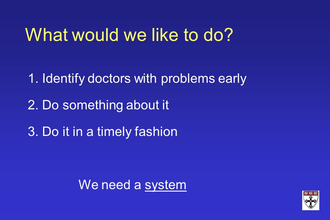 What would we like to do 1. Identify doctors with problems early