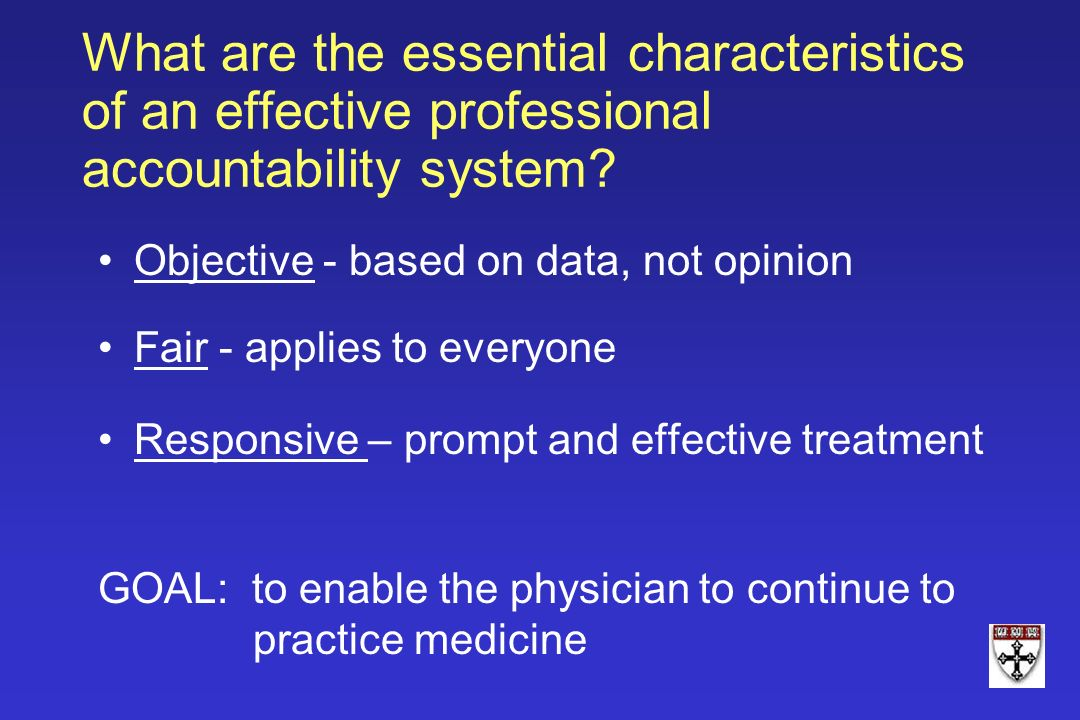 What are the essential characteristics of an effective professional accountability system